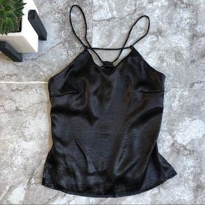 LF One Way black satin strappy camisole tank top